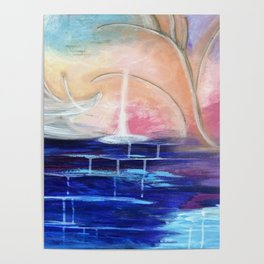 Flourescent Waterfall Painting. Waterfall, Abstract, Blue, Pink. Water. Jodilynpaintings. Poster