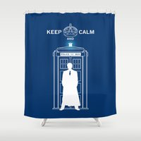 dr who Shower Curtains featuring Dr Who - Strokes by Chimaera Designs