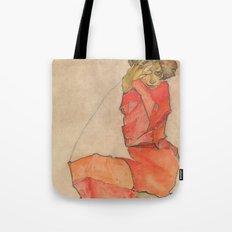 Egon Schiele - Kneeling Female in Orange-Red Dress Tote Bag