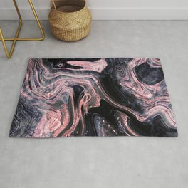 Stylish rose gold abstract marbleized design Rug