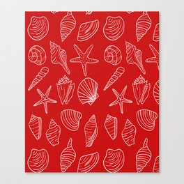 Red and white seashells pattern Canvas Print
