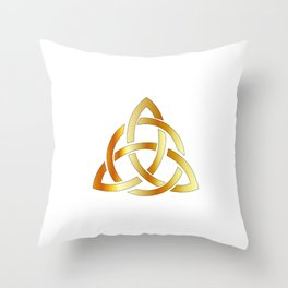 Golden triquetra celtic cross-3 point Celtic Trinity knot Throw Pillow