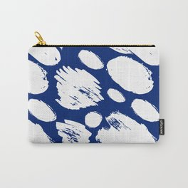 Hand painted navy blue white watercolor brushstrokes Carry-All Pouch