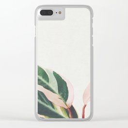 Pink Leaves III Clear iPhone Case