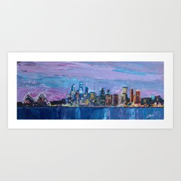 Sydney Skyline with Opera at Dusk Art Print