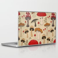 mushrooms Laptop & iPad Skins featuring Mushrooms by Lynette Sherrard Illustration and Design