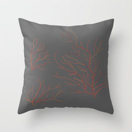 Embroidered сorals Throw Pillow