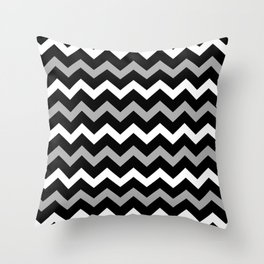 Black White & Grey Chevron Print Pattern Throw Pillow