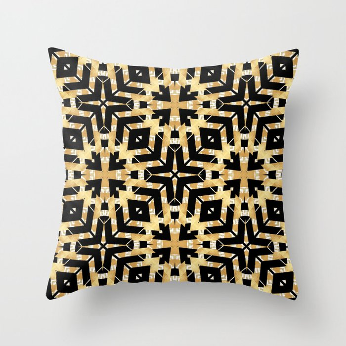 Art Deco Throw Pillows.Black And Gold Foil Art Deco Throw Pillow By Lisaguenraymond