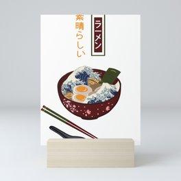 Funny Great Ramen Wave in a Bowl Graphic Vintage Retro Japanese Noodles T Shirt Mini Art Print