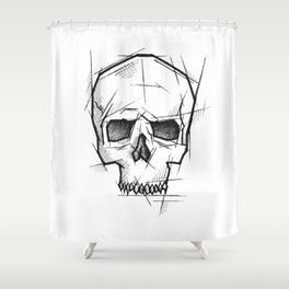 Skull Handmade Drawing, Made in pencil, charcoal and ink, Tattoo Sketch, Tattoo Flash, Sketch Shower Curtain