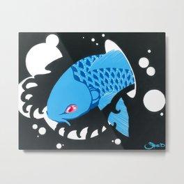 Astro Koi Blue Metal Print
