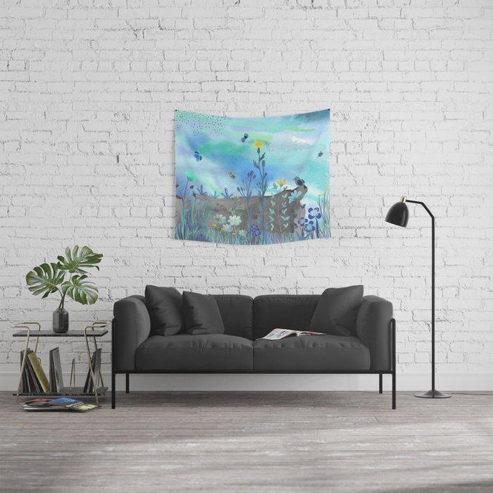 Blue Garden I Wall Tapestry