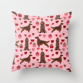 Irish Setter valentines day dog breed cupcakes love hearts setters gifts Throw Pillow