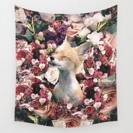 Cute Floral Fox Flower Wall Tapestry