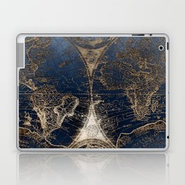 World Map Deep Blue and Gold Laptop & iPad Skin