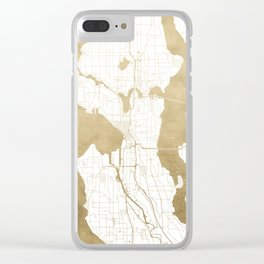 Seattle White and Gold Map Clear iPhone Case