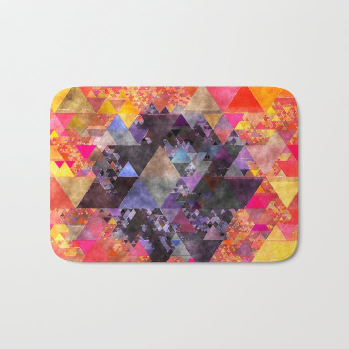 Fire red blue yellow  triangle pattern - Watercolor illustration Bath Mat