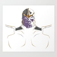 thanos Art Prints featuring Thanos by Tharaldsen Design