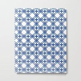 Tile Pattern - Cobalt Blue Metal Print