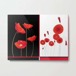 Flaming Poppies Metal Print