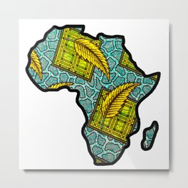 Green Blue Africa Map Metal Print