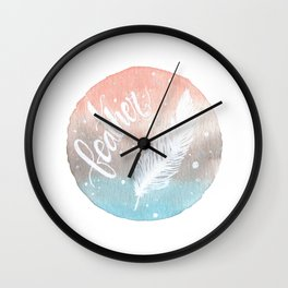 Feather Watercolor Wall Clock