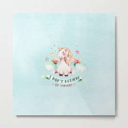 Magical pink teal watercolor rainbow unicorn typography Metal Print