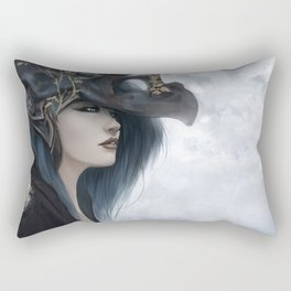Bluish Black - Mysterious fantasy mage girl portrait Rectangular Pillow