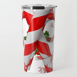FESTIVE ART RED-WHITE CHRISTMAS CANDY CANES HOLLY BERRIES Travel Mug