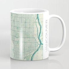 Vancouver Map Blue Vintage Mug
