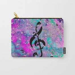 Artistic neon pink teal black watercolor classical music note Carry-All Pouch