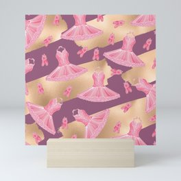 Artsy Girly Pink Gold Purple Ballerina Dress Shoes Mini Art Print