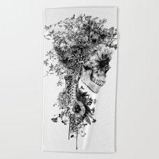 Skull BW Beach Towel