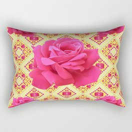 FUCHSIA PINK ROSES ON YELLOW GEOMETRIC PATTERN ART Rectangular Pillow