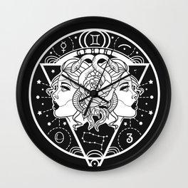 Gemini Twins Zodiac on Black Wall Clock