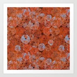 Ocean life in orange and blue Art Print