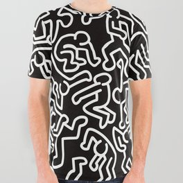 Homage to Keith Haring Black All Over Graphic Tee