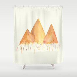 Dripping Watercolor Mountains Shower Curtain
