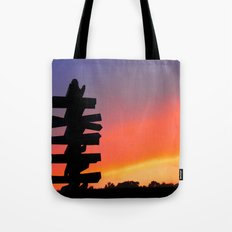 Signpost Sunset Tote Bag