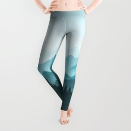 Teal Mountains Leggings