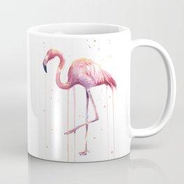 Pink Flamingo Portrait Watercolor Animals Birds | Facing Right Coffee Mug