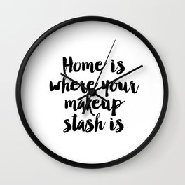 Makeup Brushes Print Art Typography Design Sign Picture Vanity Makeup Room Bathroom Multiple Wall Clock