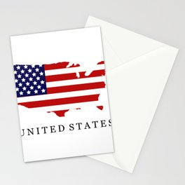 United States map with flag Stationery Cards