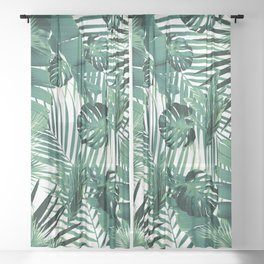 Tropical Jungle Leaves Siesta #5 #tropical #decor #art #society6 Sheer Curtain