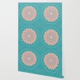 Bright Aqua Star Mandala Design Wallpaper