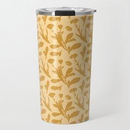 Block Print Marigold Floral in Flax Yellow Travel Mug