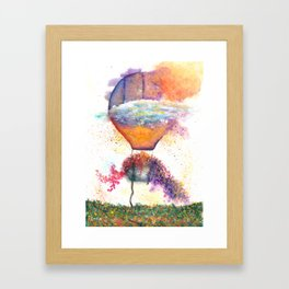 Hot Air Balloon on Fire Watercolor Framed Art Print