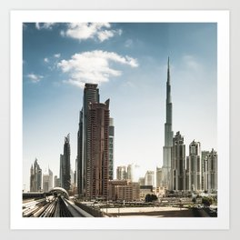dubai landmark on the monorail Art Print