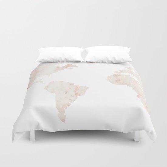 Marble World Map Light Pink Rose Gold Shimmer Duvet Cover